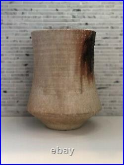Vintage Pottery Vase Japan Signed large thick clay textural Ikebana