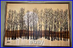 Vintage Retro 70's-80's Signed Letterman Large Format Painting Trees Sunset