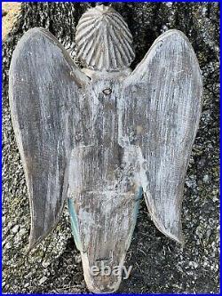 Vintage Signed Hand Carved Wooden Angel Cherub Wall Hanger
