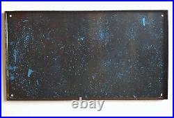 Vintage enamel wall sign Warning Beware Nasty dog Large French enameled plaque
