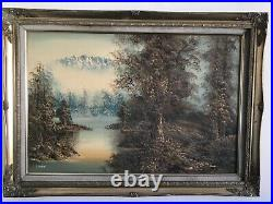 Vintage gilt framed original signed oil painting on Canvas large 36 x 26 inches