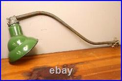 Vintage green Porcelain shade industrial light barn sign gas station bracket arm