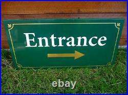 Vintage large Painted Metal ENTRANCE Sign Plaque-Hotel Pub Car Park Restaurant