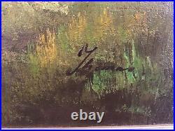 Vintage large gilt framed original signed oil painting on canvas