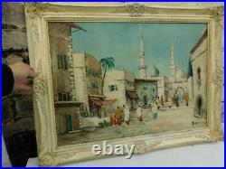 Vintage large old PAINTING oil signed