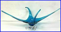 Vtg Unsigned Chalet Extra Large 4 Point Blue Art Glass Centerpiece 30 inches
